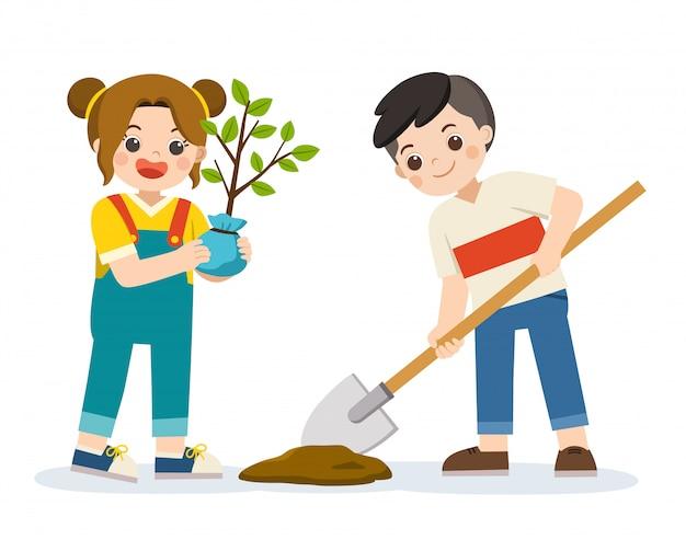 Schattige kindervrijwilligers plantten een jonge boom voor save the earth. fijne aarde dag. groene dag. ecologie concept. geïsoleerde vector.