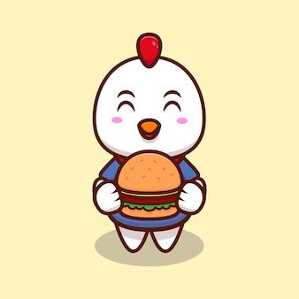 Schattige kip brengen een hamburger cartoon pictogram illustratie.