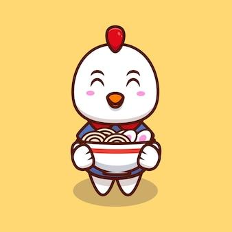 Schattige kip brengen ramen noodle cartoon pictogram illustratie.