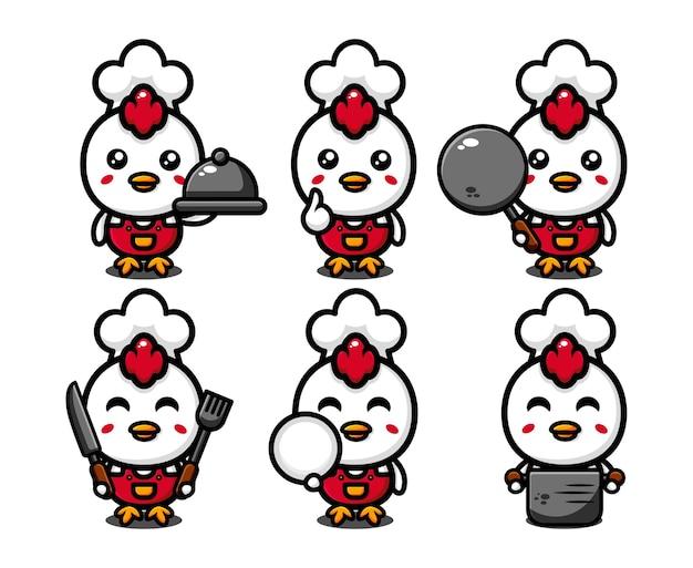 Schattige kip chef-kok karakter ontwerpset met kookgerei