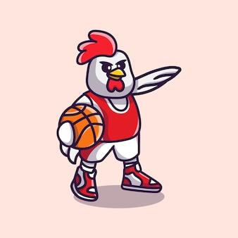 Schattige kip die basketbalillustratie speelt