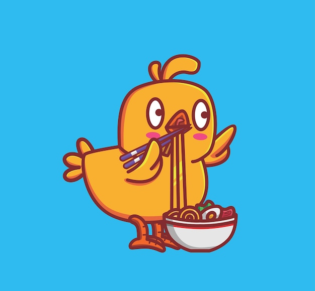 Schattige kip eet een noedel met eetstokjes dier geïsoleerd cartoon vlakke stijl sticker web design