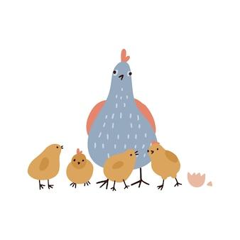 Schattige kip en gele kippen geïsoleerd op witte achtergrond moeder luisteren naar grappige baby vogel fladderen haar...