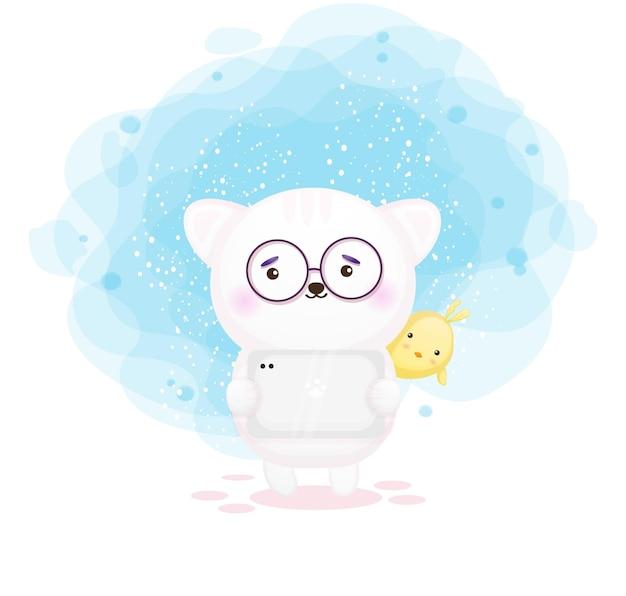 Schattige kitty tablet cartoon te houden