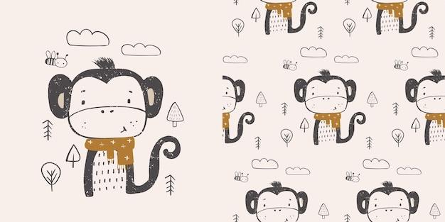 Schattige kleine aap in het bos met sjaal hand getekende kleur karakter scandinavische illustratie