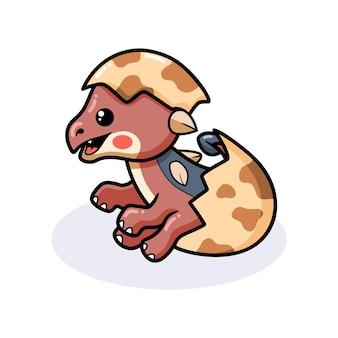 Schattige kleine ankylosaurus dinosaurus cartoon die uit ei komt