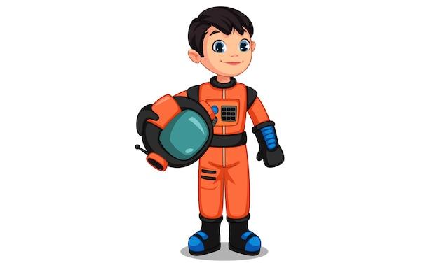 Schattige kleine astronaut jongen