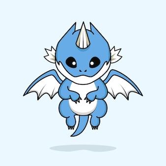 Schattige kleine baby draak karakter vliegen