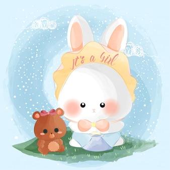 Schattige kleine baby konijn meisje