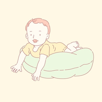 Schattige kleine baby kruipen over het kussen in lijnstijl