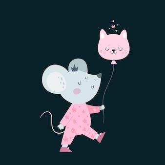 Schattige kleine baby muizen muis met ballon.