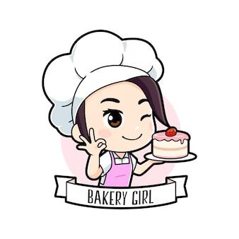 Schattige kleine bakkerij chef-kok meisje logo