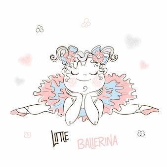 Schattige kleine ballerina in een tutu rusten.