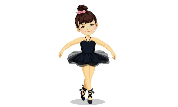 Schattige kleine ballerina meisje in zwarte tutu jurk