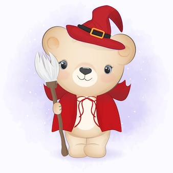 Schattige kleine beer die halloween-kostuum draagt en bezem halloween-illustratie vasthoudt
