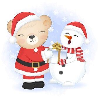 Schattige kleine beer en cadeau met sneeuwpop kerst seizoen illustratie op winter bakcground