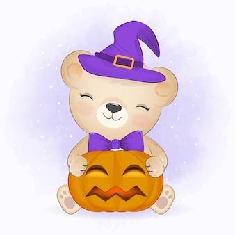 Schattige kleine beer en pompoen halloween illustratie