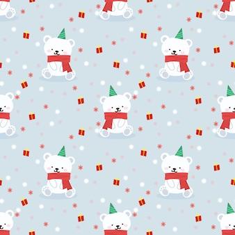 Schattige kleine beer in kerstfeest thema naadloos patroon