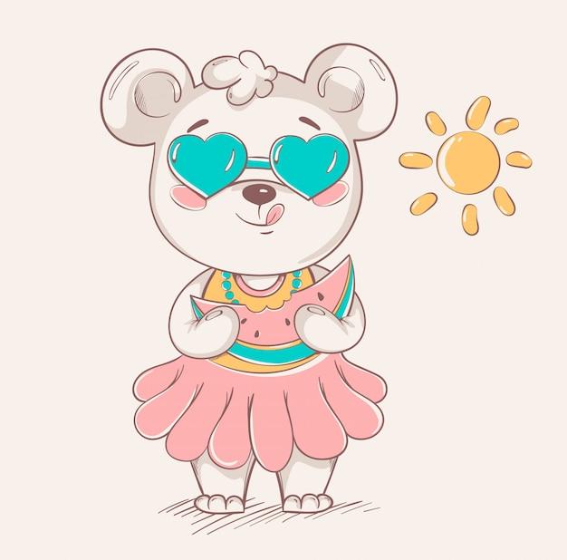 Schattige kleine beer in kleurrijke rok en zonnebril