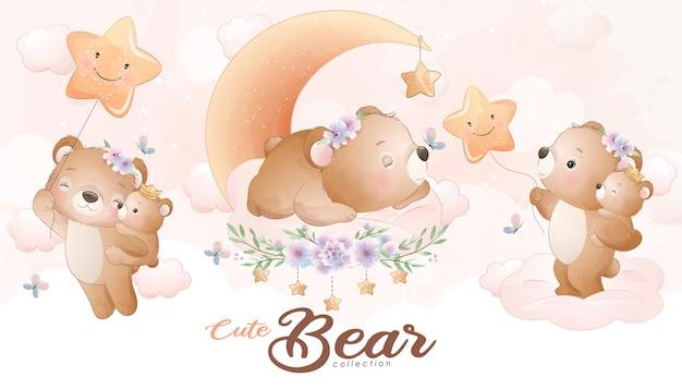 Schattige kleine beer met aquarel illustratie set