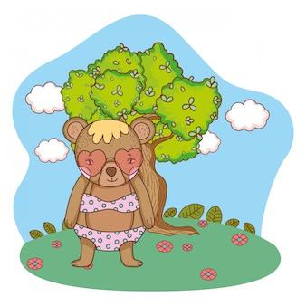 Schattige kleine beer met hart zonnebril in het kamp