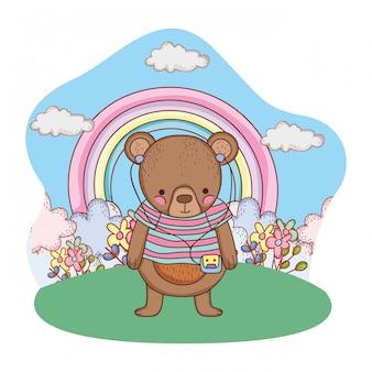 Schattige kleine beer met shirt en walkman in het kamp