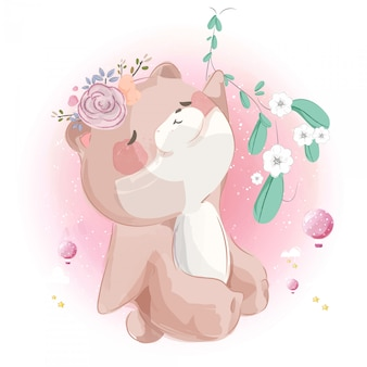 Schattige kleine beer opknoping in heldere hemel.