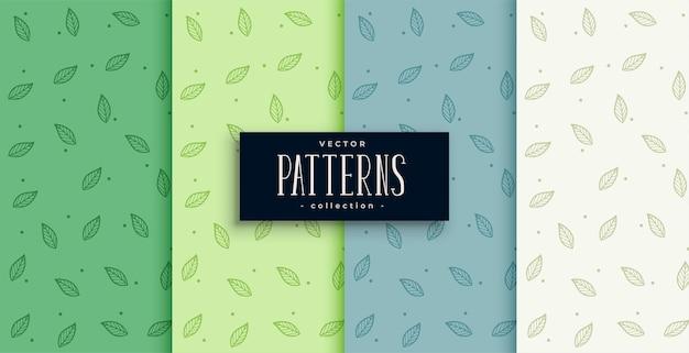 Schattige kleine bladeren naadloze patroon set