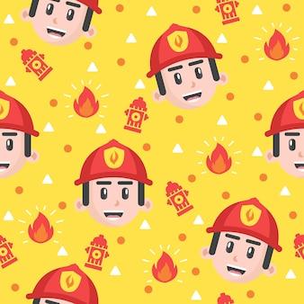 Schattige kleine brandweerman patroon illustraties