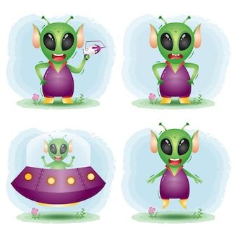 Schattige kleine buitenaardse karakters