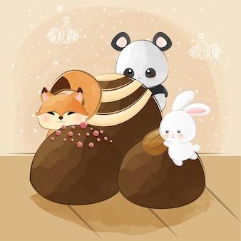 Schattige kleine dieren en chocolaatjes