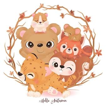 Schattige kleine dieren in aquarelillustratie voor herfstdecoratie