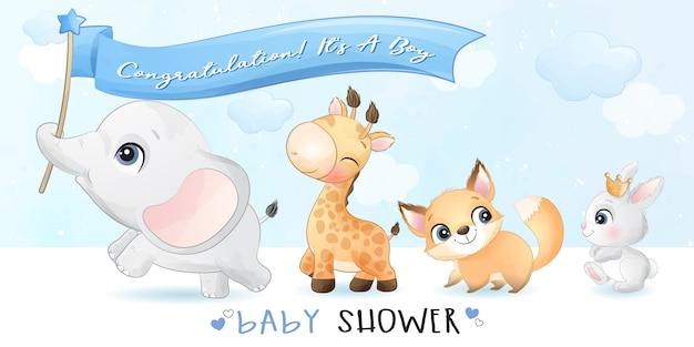 Schattige kleine dieren met baby shower illustratie