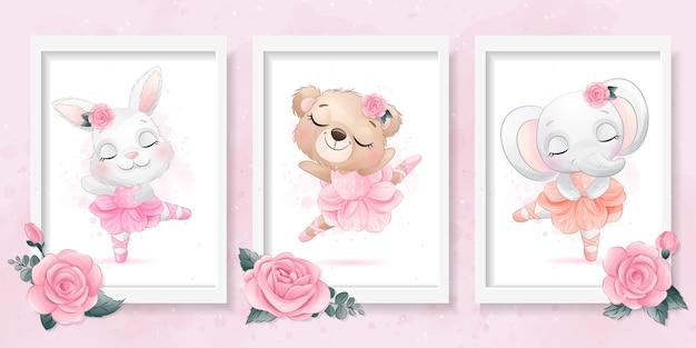 Schattige kleine dieren met ballerina effect illustratie