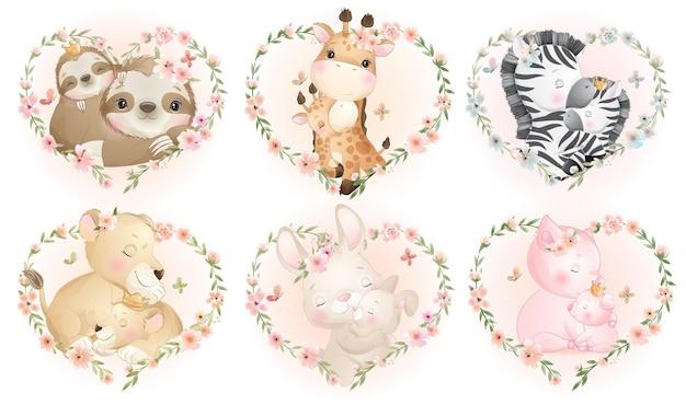 Schattige kleine dieren met bloemenkrans voor moederdagcollectie