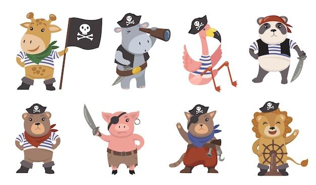 Schattige kleine dieren piraten vlakke afbeelding set. cartoon zeilers als grappige leeuw, flamingo, varken, kat, giraf, panda geïsoleerde vector illustratie collectie. mascottes en prints voor kinderen concept