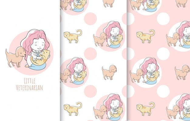 Schattige kleine dierenarts illustratie, kaart en naadloos patroon.