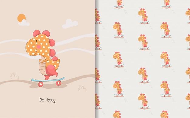 Schattige kleine dino-kaart en naadloze patroon voor kinderen