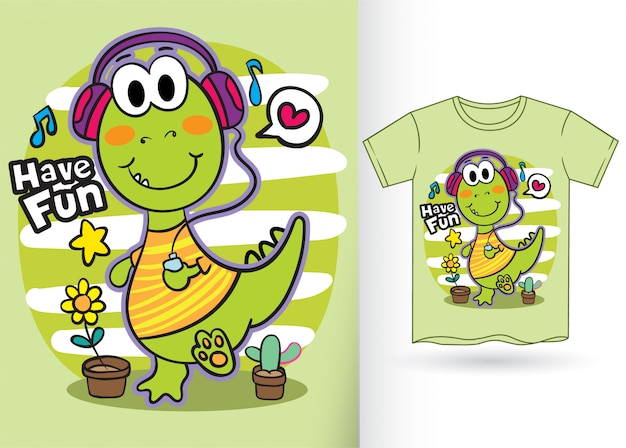 Schattige kleine dinosaurus cartoon voor t-shirt