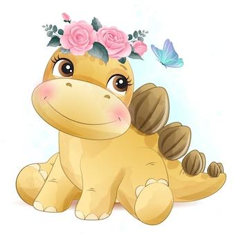 Schattige kleine dinosaurus met aquarel illustratie
