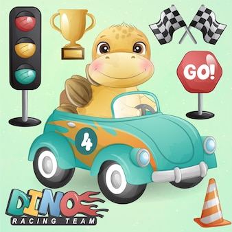 Schattige kleine dinosaurus met racewagen illustratie set Premium Vector