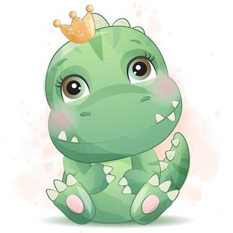 Schattige kleine dinosaurus portret met aquarel effect Premium Vector