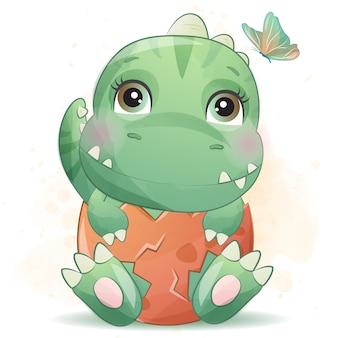 Schattige kleine dinosaurus portret met aquarel effect