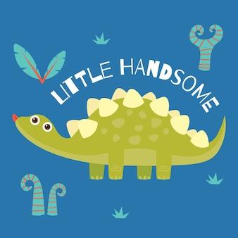 Schattige kleine dinosaurus poster en t-shirt ontwerp voor kinderen