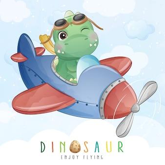 Schattige kleine dinosaurus vliegen met vliegtuig illustratie