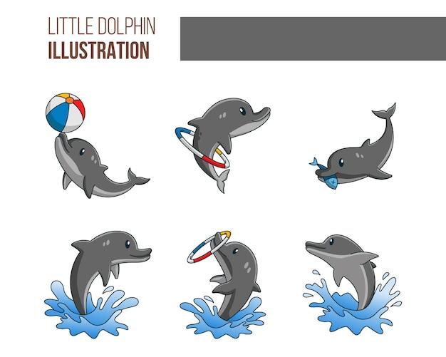 Schattige kleine dolphinl illustratie set
