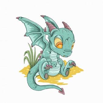 Schattige kleine draak houdt van goud