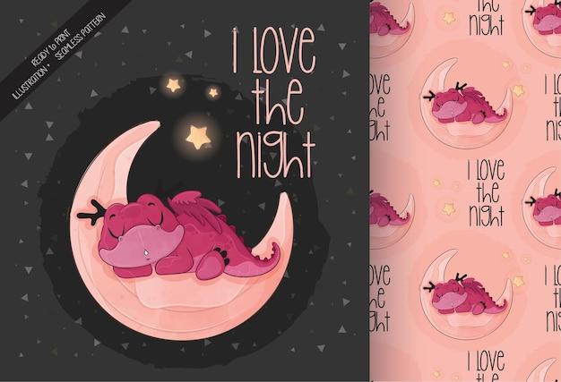 Schattige kleine draak slapen op de maan illustratie met naadloos patroon