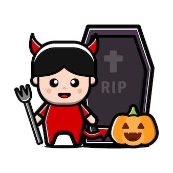 Schattige kleine duivel karakter. halloween concept