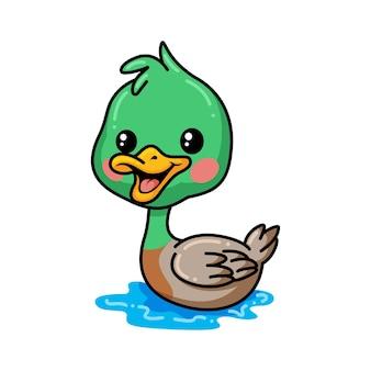 Schattige kleine eend cartoon zwemmen